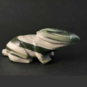 Zuni Rabbit fetish carved from green bandede ricolite serpentine by Jimmy Yawakia, Zuni
