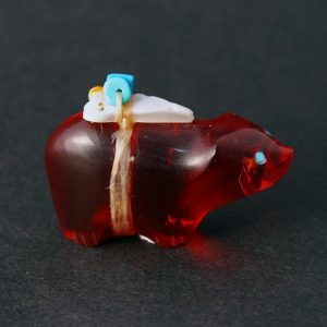 Red Glass Bear Fetish by Leland Boone, Zuni