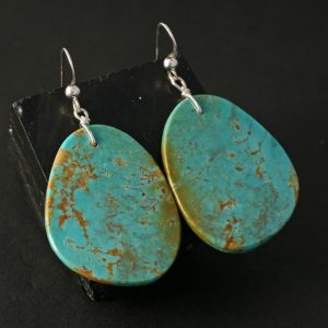 Kingman Turquoise slab earrings by Jennifer Medina