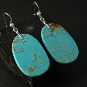 Slab Earrings, Kingman Turquoise, by Jennifer Medina, Kewa Pueblo