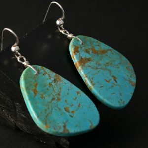 Pueblo Slab earrings of Kingman Arizona turquoise by Jennifer Medina, Kewa