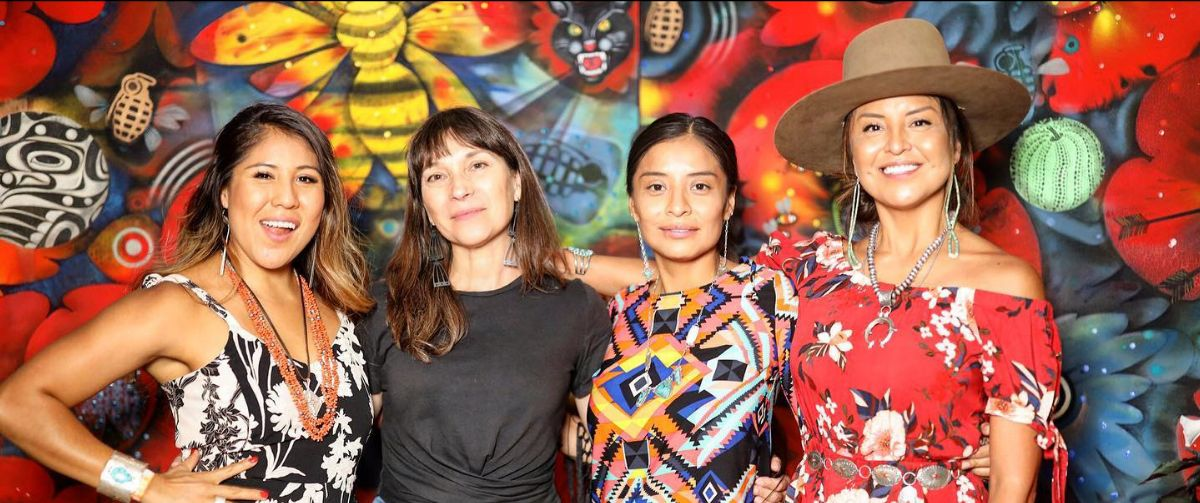 Joanne Prince, Owee Reid & friends at Santa Fe Indian Market 2019. Photo © Larry Price