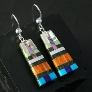 Kewa Pueblo Inlay Earrings by Stephanie Medina