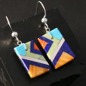 Mosaic earrings by Stephanie Medina, Kewa Pueblo