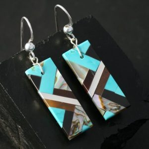 Turquoise & Abalone Earrings by Stephanie Medina, Kewa tribe