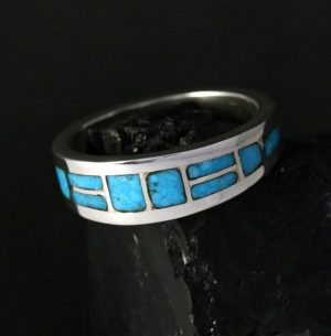 Turquoise Inlay Ring By Sheldon & Nancy Westika, Zuni