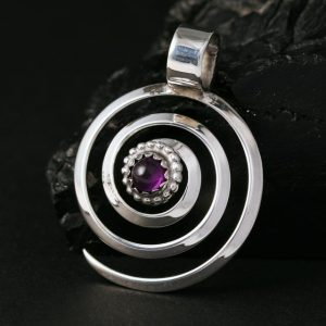 Spiral Pendant with Amethyst by Lorraine Martinez