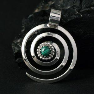 Spiral Pendant with Malachite by Lorraine Martinez