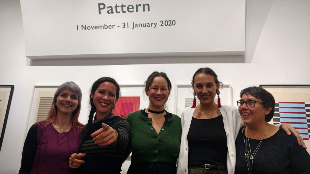Native women at the opening of PATTERN exhibition, Rainmaker Gallery