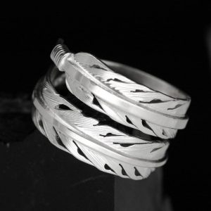 silver feather ring by Harvey Chavez