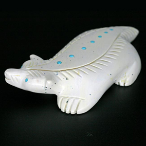 link to Zuni fetish carvings (white Badger by Daniel Westika)