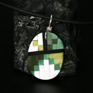 Native American, Green Mosaic Pendant by Dana Chavez, Kewa Pueblo Tribe