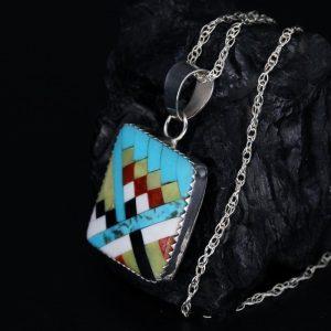 Turquoise Mosaic Pendant by Dana Chavez, Kew Pueblo Tribe