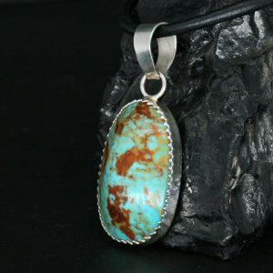 Classic Turquoise Pendant by Dana Chavez, Kewa Pueblo