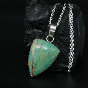 Green Turquoise Pendant by Dana Chavez, Kewa