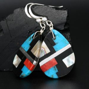 Mosaic Raindrop Earrings by Stephanie Medina, Kewa