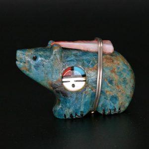 Turquoise Bear Fetish by Darrin Boone, Zuni