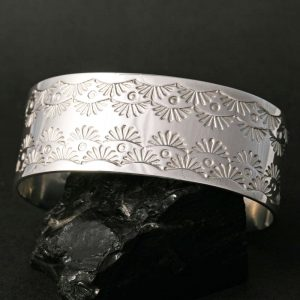 Chris Pruitt stamped silver bracelet
