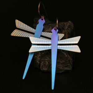 Blue Dragonfly earrings by Pat Pruitt
