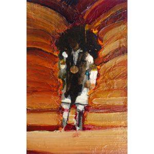 Buffalo Dancer (untitled) mixed media on wood by Mateo Romero