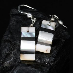 Black & White Stripe Inlay Earrings by Tanner Medina