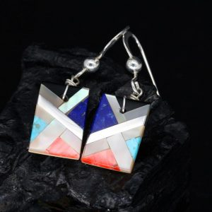 Small Pueblo Inlay Earrings by Stephanie Medina