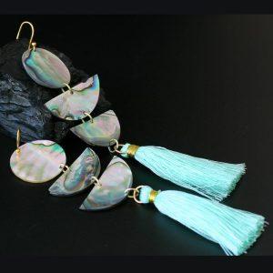 Green Tassel Abalone Earrings by Leah Mata, Chumash