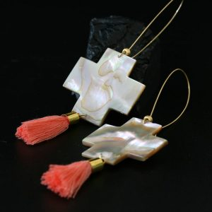 Four Direction Earrings by Leah Mata, Chumash