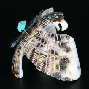 Cowrie Shell Eagle Fetish by Bryston Bowannie, Zuni