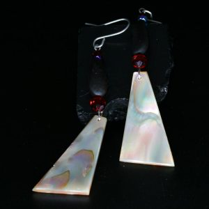 Red abalone & pine nut earrings by Leah Mata, Northern Chumash