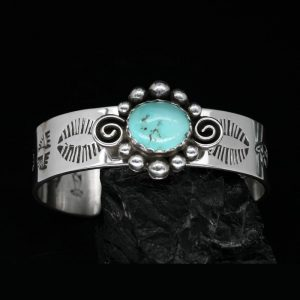 Turquoise Stamped Silver Bracelet by Allen Bruce Paquin