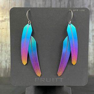 Double Tech Feather Earrings by Pat Pruitt