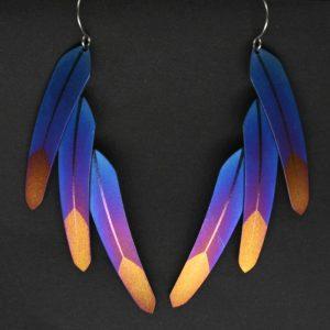 triple feather earrings by Pat Pruitt
