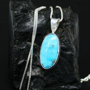 Oval Turquoise Pendant by Janie Chavez, Kewa Pueblo