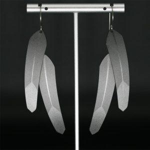 Zirconium double TechFeather earrings by Pat Pruitt