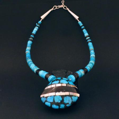 Turquoise mosaic necklace by Stephanie and Tanner Medina