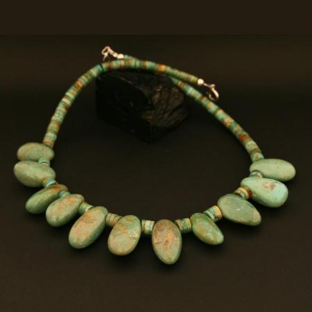 Chunky turquoise necklace by Beatrice Aguilar