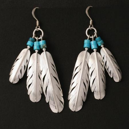 Feather fan earrings by H & J Chavez