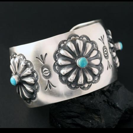 Turquoise & silver repoussé cuff bracelet by Jennifer Medina, Kewa Pueblo