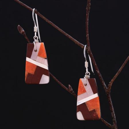 Red inlay earrings by Stephanie and Tanner Medina