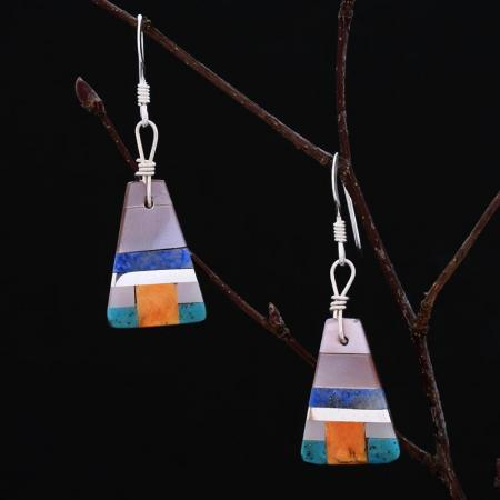 Small inlay earrings by Stephanie and Tanner Medina