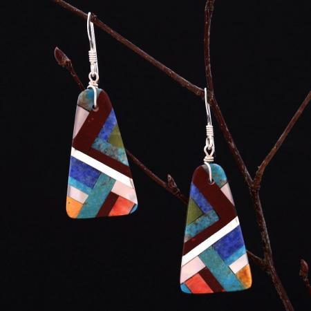 Lightning mosaic earrings by Stephanie and Tanner Medina