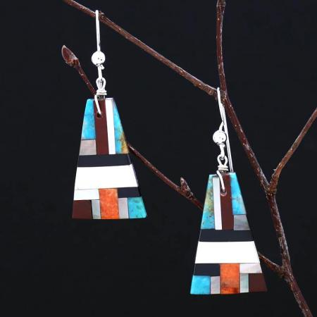 Pueblo inlay earrings by Stephanie and Tanner Medina