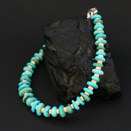 Melon Shell and Turquoise Bracelet by H & J Chavez