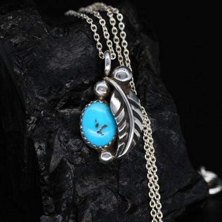 turquoise leaf pendant by James Eustace