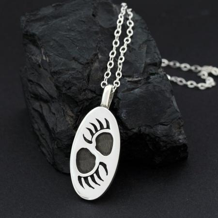 Bear Tracks Pendant by Anthony Honahnie, Hopi