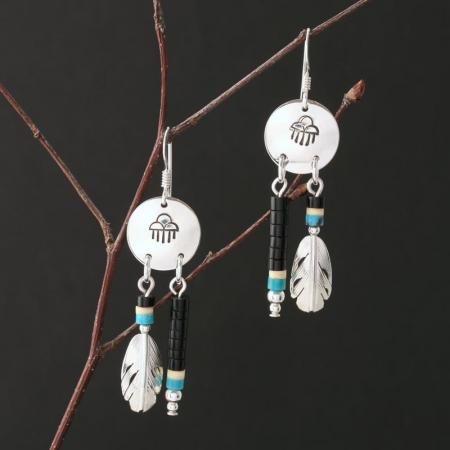 Raincloud Earrings with Feathers by H & J Chavez