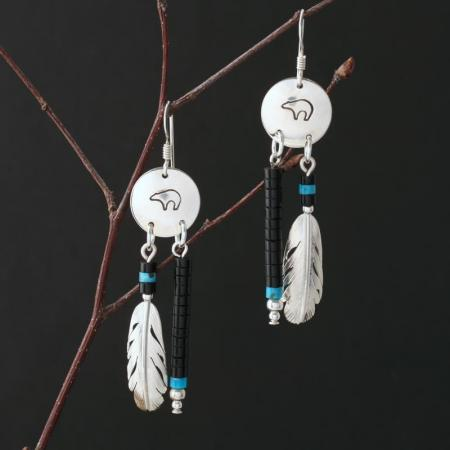 Bear & Feather Earrings by Harvey & Janie Chavez