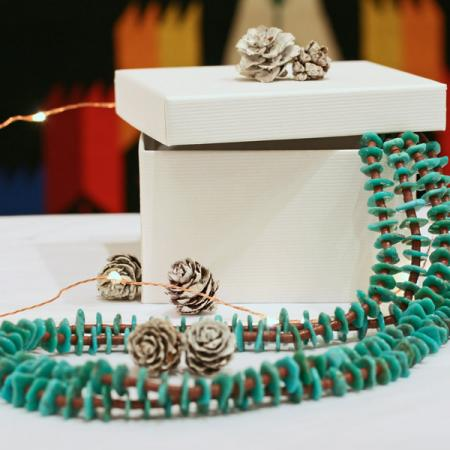 Turquoise & pipestone necklace by H&J Chavez