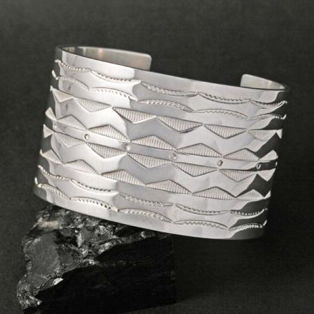 Native American stamped silver cuff by Chris Pruitt